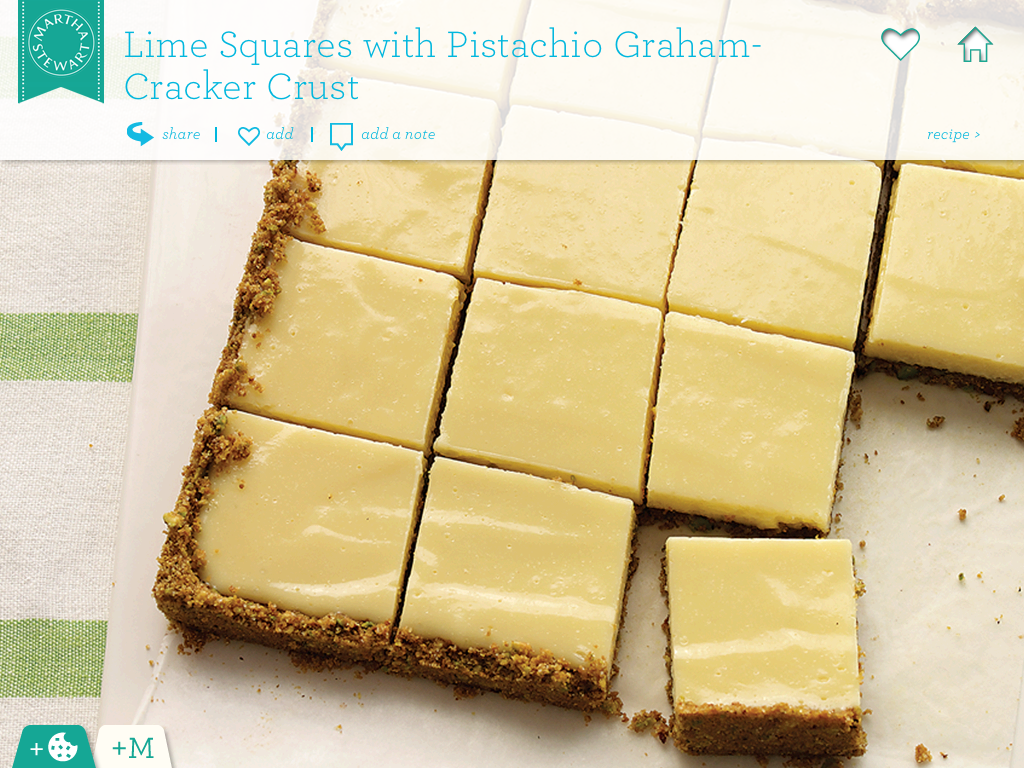 Recipe 27: Lime Squares with Pistachio Graham-Cracker Crust